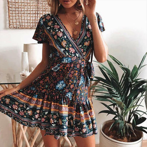 Boho Summer Women Ladies Flowers Dress High Waist Lace up Beach Sundress Flare Sleeve Floral Female V Neck Mini Dress
