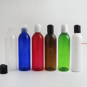 24 x 250ml Round Shoulder Blue Red Clear Amber PET Bottle Container with Disk Cap 250cc Empty Transparent Plastic Shampoo Bottlefree shippin