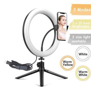 Ailehkuo Selfie Halo ring Bracket 램프 LED 환형 튜브 비디오 링 라이트 Tiktok YouTube Live Photography 용 데스크탑 삼각대
