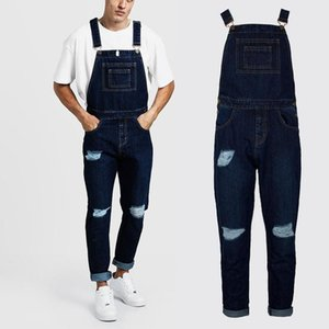 Denim Bib Overall Jumpsuits Casual Straight Loose Jeans 2020 New Men's Fashion Holes Distressed Slim Fit Stretch Jeans Y