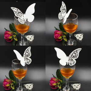 Table Centerpieces Decor Cup Card Butterfly Paper Cutting Cards Insertion Wedding New Decorations Red Wine Champagne Card 0 2jg G2
