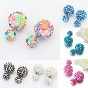 1Pair New Stylish Flower Ball Earrings Double Side Crystal Earrings Big Beads 6 Color Women's Fashion Jewelry