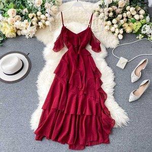 새로운 2020 Boho 드레스 여성 우아한 스파게티 러프 시폰 드레스 Vestidos Mujer Ladies Fashion 불규칙한 긴 Robe Femme1