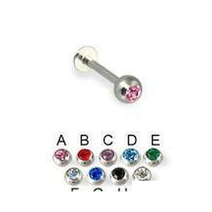 New Arrival 316L Surgical Steel Labret Ring Lip Piercing Diamond Jewelry Earring 16Gauge 100Pcs Lot 0Holu