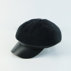 2020 Reduction of age Autumn and winter, thick plush rabbit hair, mixed beret, simple fashion, wild