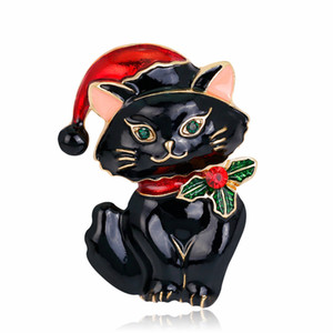 Retro Cute Christmas Cat Brooch Christmas Jewelry Gifts Brooch Thanksgiving Xmas Holiday Brooch for Women Girls