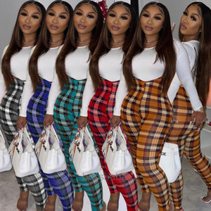 Donne Tracksuits Slim Sexy T-shirt solida T-shirt colorata plaid tuta Ladies Due pezzi Outfits New Fashion Designer Vestiti 2020