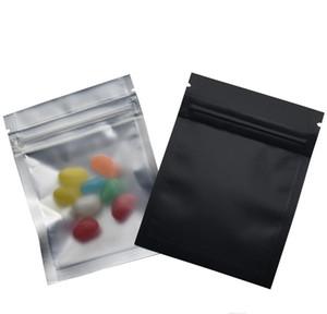 ZIP MATTE Klavuz Edilebilir Siyah Temizle Gıda / 7.5 * 10 cm Çanta Bakkal Ön Folyo Ambalaj Folyo Plastik Kilit Mylar 100 adet / grup Alüminyum Fermuar B Wmtid