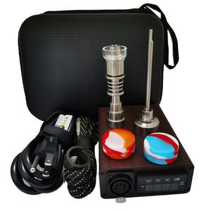 Wood Pattern ENail Dab Kit Electric Dab Nail Pen Rig Wax PID TC Box with Coil Heater 6in1 Hybrid Ti&Quartz Nail for glass bongs