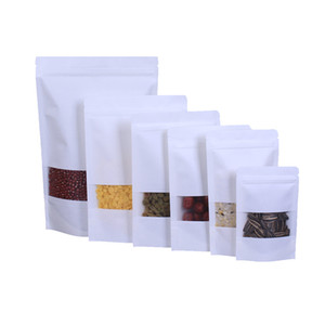 Cocina Bolsas de papel kraft blancas Bolsa de sellado automático, bolsas de envasado de alimentos de bocadillo Bolsas de almacenamiento de bolsas de almacenamiento Soporte de embalaje Bolsa sellada 9052