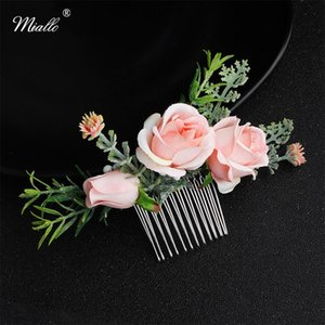 Miallo Wholesale Newest Rose Artificial Simulation Flower Women Hair Comb Clips Wedding Hair Accessories Bridal Ornaments