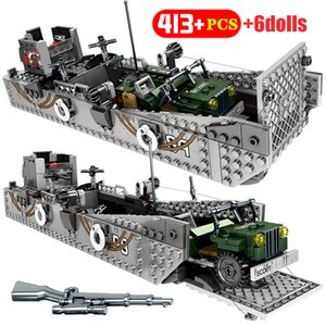 WW2 Landing Ship Trailer Model Building Blocks Military Tank City Police Truck Soldier Figures weapon Bricks Toys for Boys Q1126