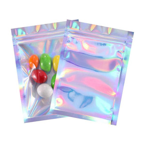 Food Storage Ziplock Resealable Smell Proof Bags Foil Flat Bag For Candy Jewelry Sample Storage Packaging Laser Film Color Gift Bag HH9-3716