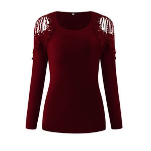 Seksi Toplam Renk Bayan Tişörtleri Dantel Tasarımcı Bayanlar Uzun Kollu Mürettebat Boyun Bayan Giysileri Oymak