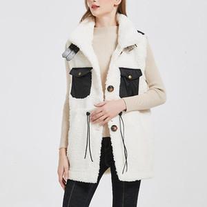 New Autumn Winter Lamb Wool Jacket For Women Vintage Sleeveless Warm Fur Vest Coat Female Elegant Cardigan Pocket Outerwear 2020