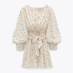 ZA 드레스 여성 2020 폴카 도트 미니 드레스 긴 소매 V 넥 라인 Zip 여름 Q0111에 대 한 흰색 여성 드레스 고정
