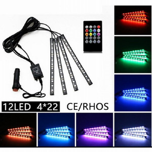 4in1 48 Led 22cm Multicolor music+remote control Flexible Car LED Strip Lights Interior Decorative Atmosphere Neon Lamp LED Wireless light