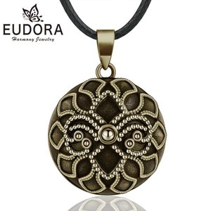 EUDORA Harmony Ball Vintage Bronze Necklace Chime Bola fleur-de-lis Pendant for Women Fine Jewelry Mexican Pregnancy Ball B337