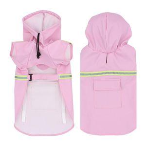 Reflective tape large dog raincoat coat pet clothes dog raincoat teddy bear big rain coat factory direct sale Solid color