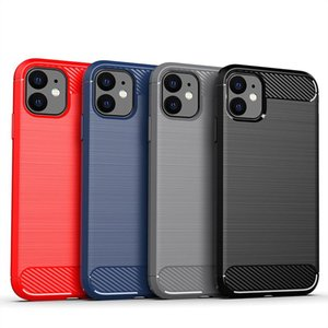 Carbon Fiber Brushed Soft TPU Case for iPhone 12 Mini 11 Pro Max 6 7 8 Plus SE 2020 LG K51 Stylo6