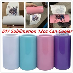 DIY Sublimation 12oz Can Cooler Slim Can Insulator Stainless Steel Tumbler Vacuum Insulated Bottle Cold Insulation Can