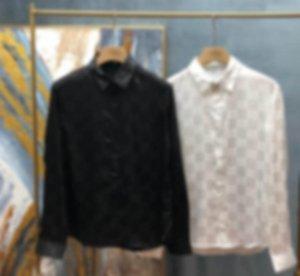2020 европейской британской ранней весной и летние новейшие буквы полная печать рубашки мужчины и женщины дышащая смешанная хлопковая повседневная стройная рубашка