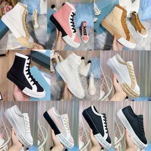 Roda Cassetta High Top Falt Sapatilhas Designer Sapatos de Mulheres Tecido Tecido Low-Cut Trainers Branco Lace-up Outdoor Cacusl Sapatos com Caixa 262
