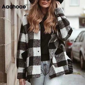 Aachoae Kadınlar Yün Ekose Coat açın Aşağı Yaka Kalın Sıcak Ceket Kadın Uzun Kollu Casual Cep Kat Kabanlar Femme VesteX1020
