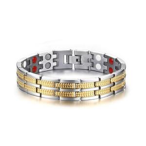 Mode Frauenmenschen Schmuck 316L Edelstahl Energy Health Magnetic Armband mit Germanium Negative Ionen Magnet weit Infrarot
