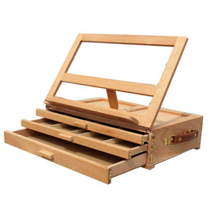 New Art Adjustable Artist Beech Wooden Tabletop Sketch Box Easel 3-Drawer Portable Wooden Tabletop Sketch Good
