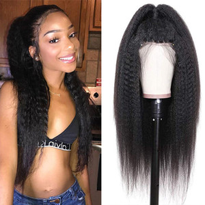 360 Lace Frontal Wig Kinky Straight Hair 4X4 Closure Wig Human Hair 180 Density Glueless Kinky Straight Wig