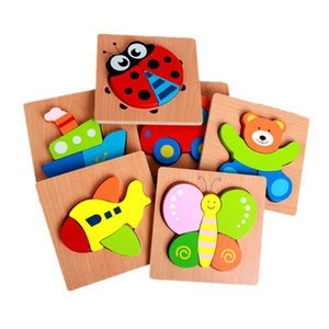 Children Wooden puzzle toys Cartoon three-dimensional hand grasp board building blocks Animal baby intellectual development puzzle toy