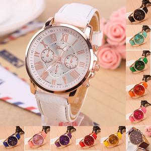 15 Farben Genf Frauen-Uhr-Designer Quarz waches Relogio römische Ziffern Kunstleder Analog Marken-Armbanduhr-Armband-Armband LY11164