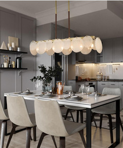 All copper chandelier for living room, light and luxurious natural marble dining room, bedroom and study lamp