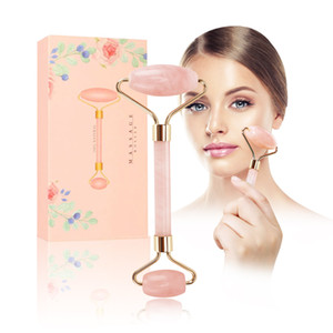 STOCK Real Stone Pink Quartz Facial Relaxation Slimming Tool Rose Quartz Roller Massager jade massage stone For Face Neck Chin Wholesale