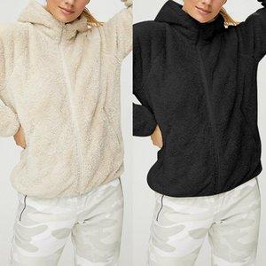 Women 2020 Black Apricot Autumn Solid Hooded Teddy Faux Fur Coat Long Sleeve Winter Zipper Casual Pocket Fleece Jacket Outwear1