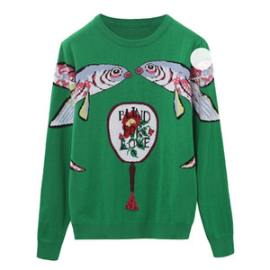 2020 Green Knitted Sweaters Pullovers Women Runway Designer Double Fish Female Ladies Christmas Jumper Autumn Winter Clothes