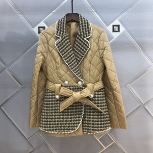 Avrupa istasyonu kısa aşağı ceket ceket yabancı hava tüvit yaka dikiş kemer ile kadınlar için sıska lady aşağı ceket kışın göstermek için