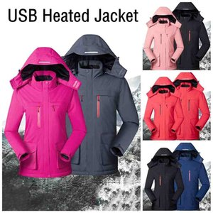 Fashion Upgrade 8 Heating Zones Mens Women Heated Outdoor Vest USB Electric Heated Hooded Long Sleeves Jacket Thermal Clothing Ski FS9123