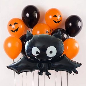 10pc set Black Orange Halloween Balloons Bat Cat Pumpkin Ballon Inflatable Toys Air Helium Balloons Halloween Decorations Globos jllSab