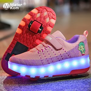 Size 28-40 Luminous Wheels Sneakers for Kids Girls Glowing Led Roller Skate Shoes with Lights USB Charged Children Boys Shoes J1208