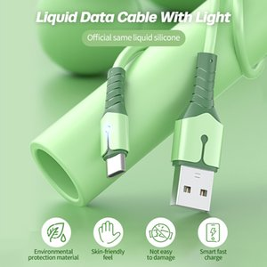 USB Type C Cable Liquid Silicone Phone Charger Cable for Xiaomi Huawei Samsung Smart Phone With LED Light 1m 2m 1.5m