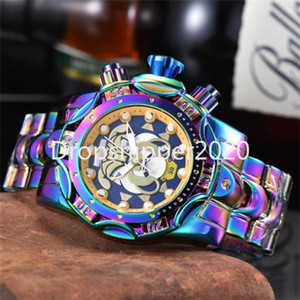 Hombres invictos de la marca Top Reloj de lujo Calendario Impermeable Multifunción Acero inoxidable Relojes de cuarzo l Reloj de Hombre
