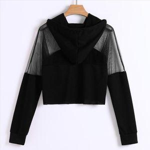 Harajuku Sweatshirt Hoodies Autumn 2019 Women Streetwear Mesh Patchwork Hoodie Clothes Cropped Tumblr Moletom Feminino es Drop Shipping