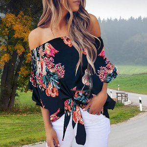 Women Print Blouses Summer Sexy Off Shoulder Floral Female Shirt Casual Loose Lace Up Plus Size Ladies Woman Tops Blouse