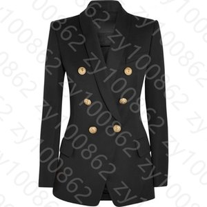 2019 Autumn Winter Black   Red Long Sleeve Notched-Lapel Minimalist Plain Buttons Double-Breasted Blazers Fashion Outwear Coats DN191811 94D