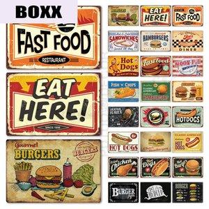 Fast Food Tin Sign Vintage Metal Sign Plaque Metal Vintage Hot Dog Wall Decor for Kitchen Cafe Diner Bar Metal Signs(20x30cm)
