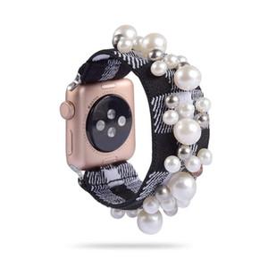 Scrunchie elastik watch band takı ile kadın kız elastik el yapımı inci izle kayış apple watch için