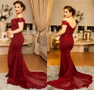 Custom Made Elegant Off the shoulder Burgundy Mermaid Formal Evening Dresses 2017 Vestidos de Festa Long Prom Gowns Cheap Bridesmaid Dresses