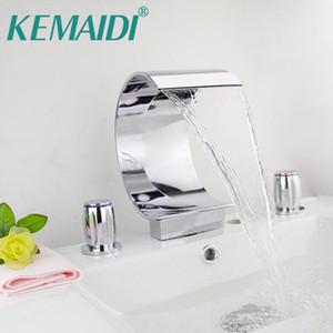 KEMAIDI Hight Quality Bathroom Mixer Deck Mounted Bathtub Waterfall Basin Mixer Tap Chrome Faucet Set 3Pcs N0010